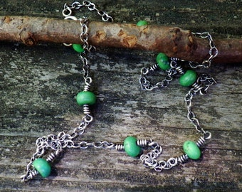 Mojave green turquoise sterling silver layer necklace