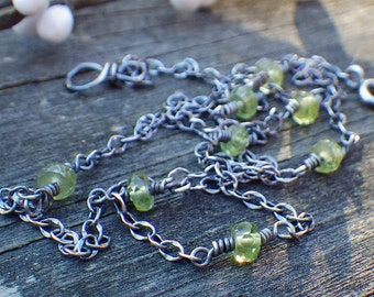 Peridot sterling silver layering necklace