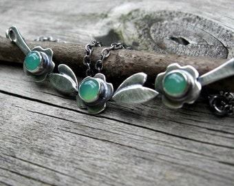 20% OFF TODAY - Chrysoprase Necklace ... Choose Your Stone Sterling silver flower necklace yoke necklace statement necklace