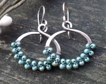 Blue Turquoise beaded hoop dangle sterling silver earrings turquoise hoops light blue beaded earrings