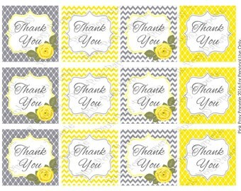 Printable Yellow and Gray Thank You Tags - Instant Download