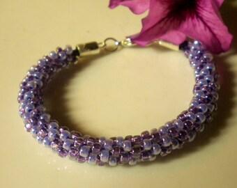 Kumihimo Beaded Bracelet Braided Bracelet Lilac Violet Japanese Seed Beads