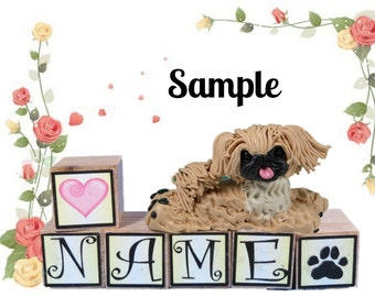 Fawn Pekingese dog PERSONALIZED with your dog's name on blocks by Sally's Bits of Clay