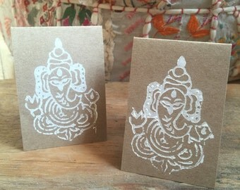Set of Handmade Woodblock Ganesh Gift Tags
