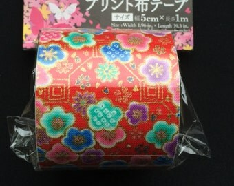 Japanese Fabric Tape Multi Pattern -Plum Blossoms - Flower Tape - Japanese Tape - Red Tape - Red Fabric Tape  FromJapanWithLove