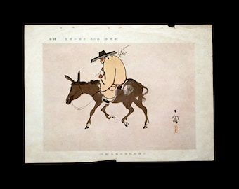 Vintage Japanese Print old man on Mexican hat grabbing twigs of flowers and riding on a donkey