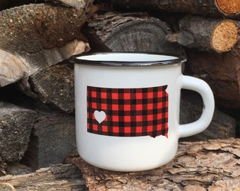 Camping Mug South Dakota Flannel  - Enamel Camp Mug South Dakota Flannel Love - Enamelware South Dakota Camping cup by Oh Geez Design