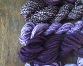 Five skein set logwood naturally dyed yarn 142 yards chunky handspun texture pack plant dyed