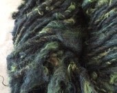 Icelandic mix green colored wool handspun bulky weight single ply 88 yards permaculture iowa farm rare breed organic