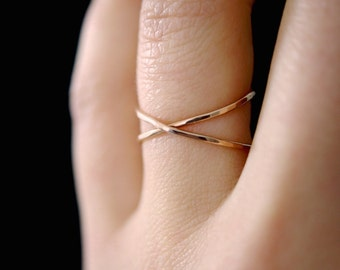 Rose Gold X ring, rose gold criss cross ring, 14k rose gold-fill, rose gold cross ring, cross ring, criss cross ring, x ring