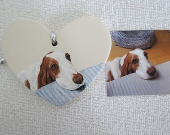 Hand Painted Ceramic Heart Pet Ornament by Pigatopia / Shannon Ivins Basset Hounds