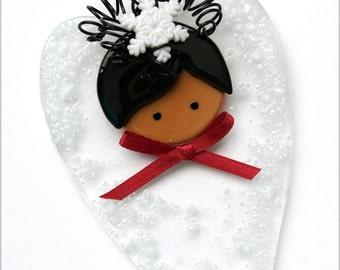 100 - Heart Angel, African American, Glass Angel, Holiday Angel, Winter Angel, Angel Ornament, Angel Decoration, Handmade, Holiday Gift