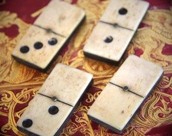 Antique Vintage Bone and Ebony Dominoes  Lot of 4