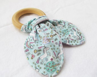 Natural Wooden Teether with Crinkles - Unicorns and Rainbows - New Baby Girl Gift - Natural Teething