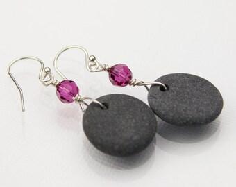 Sea Stone earrings - Gift for her - Pebble Earrings - Alaska Beach stones jewelry - Beach earrings - Crystal earrings - Sterling silver