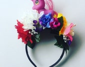 Flower Floral My Little Pony Unicorn Head Dress Head Band Festival