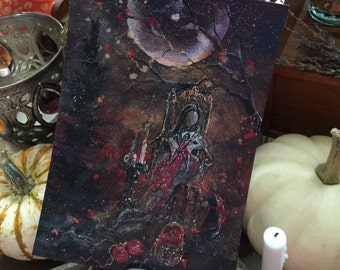 Terri Foss Art Print 5x7 from Original Painting Knotting Cat Girl Victorian Moon Witch Witchcraft Yule Samhain Halloween Gothic Folk Art