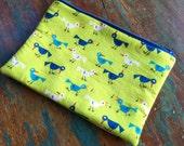 medium zipper pouch eds birds