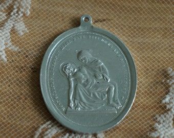 large vintage religious medal Virgin Mary   sorrowful heart of Mary have pity upon us