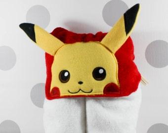 Toddler Pikachu Hooded Towel - Pikachu Towel for Bath, Beach, or Swimming Pool - Toddler Pikachu Pokemon Towel - Great Christmas Gift Idea!