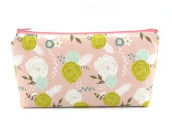 Light Pink Floral Cosmetic Bag, Zip Pouch, Makeup Bag, Pencil Case, Zipper Bag, Fun Gift