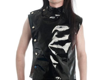 Men's PVC Buttoned Sleeveless Top Goth Fetish Gothic Clubwear Supernal Clothing