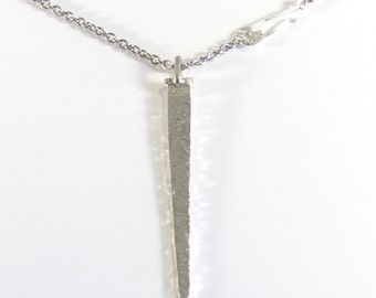 Hammered Big Flat Silver Nail, Neolithic Style Nail Pendant, Long Unisex Pendant
