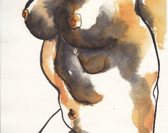 Torso 2010, sumi ink watercolor female figure painting
