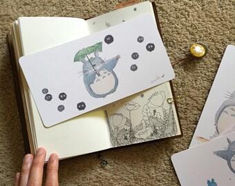 Watercolor Illustration Laminated Shitajiki Pencil Totoro & Sootballs for Travelers Notebook