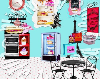 American Girl Doll 2015 Grace's French Bakery La Patisserie Interior Background Scene Photography backdrop doll house accessories furniture