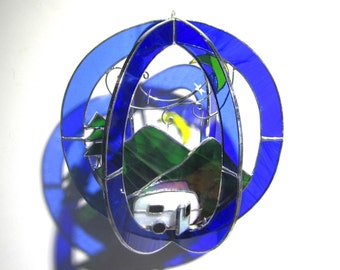 Glamping Under the Stars - Stained Glass 3D Sphere - Medium Mountain Camper Camping Night Stars Suncatcher Hanging Sculpture (READY TO SHIP)