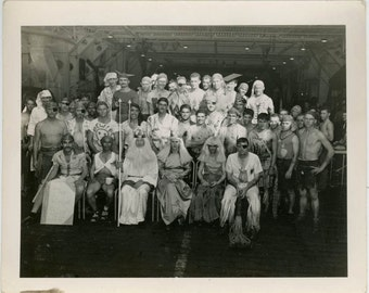 vintage photo 1944 Cross Dress Airforce Navy Pirate Neptune Devil Men Show on Ship Costumes