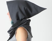 Grey hooded scarf, Dark grey cowl with hood, Pixie hooded scarf in grey and black, removable hood, MALAM