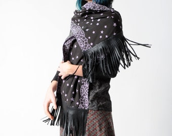 Black fringe scarf with purple stars, Leather and fabric scarf, stars and lace, Fringed scarf, Fall fashion scarf