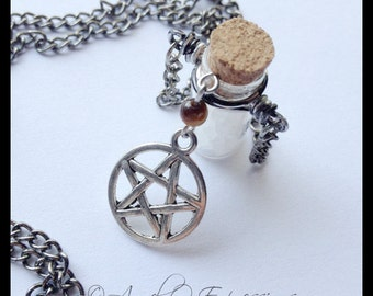 Supernatural Strength of the Hunter Salt Vial Dark Silver Metal Chain Necklace with Protection Pentagram and Tiger's Eye