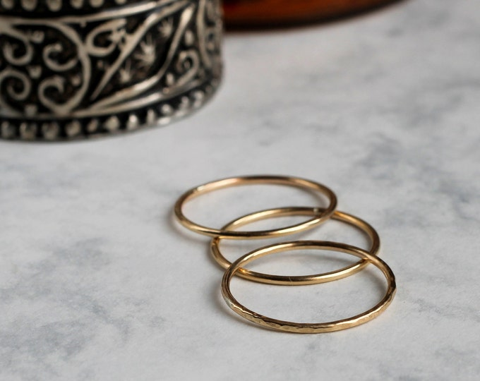 Set of Three Skinny Stacking Rings - Gold Fill