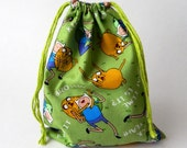 Adventure Time Drawstring bag, Adventure time favors bag, Finn and Jake the dog fabric bag, New Year organization fabric bag