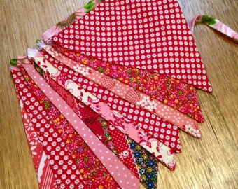 Marna Moo RED and PINK Floral Shabby Chic Bunting Flags Banner