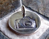 ON SALE Silver Camera Charm, PMC Fine Silver, Photography jewelry