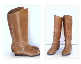 Tan Leather Boots Tall Leather Riding Boots  Womens  SZ 8.5