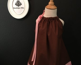 Will fit Size 2T up to 7 yr - Ready to MAIL - Pillowcase Dress or Top - Amy Butler - Pink and Brown - by Boutique Mia