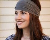 Gray Headband, Solid Color Headband, One Color Head Bands, Stretchy Headband, Yoga Headband, Womens Stretch Headband, Ladies Wide Headband
