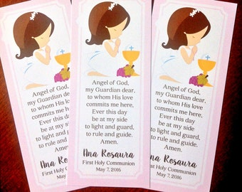 PRINTABLE First Holy Communion Bookmark in Pink / Choose Hair & Skin Color / Print Your Own Communion Bookmark Favors