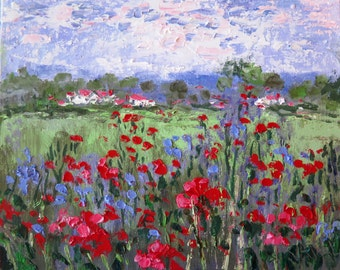 Canvas Giclee Print -   Red Poppies and Lavender Houses -   20 x 16