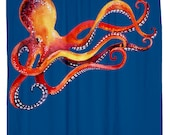 Go with the Flow, Octopus Shower Curtain, Printed in USA