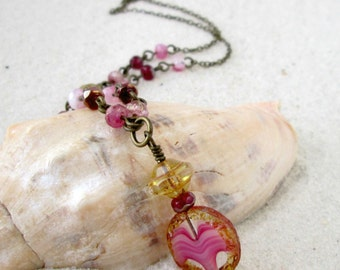 Pink Beaded Layering Necklace - Glass Bead Necklace - Glass Bead Jewelry - Summer Jewelry - Pink Necklace - Boho Necklace - Pink Series