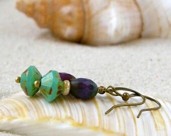 Handmade Beaded Jewelry - Beaded Earrings - Purple Earrings - Short Dangle Earrings - Short Beaded Earrings - Purple and Green Series