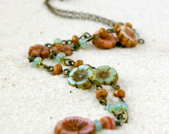 Handmade Necklace - Floral Necklace - Beaded Boho Necklace - Gift for Mom - Beaded Necklace - Gift Idea - Coral Pink and Mint Series