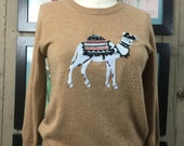 vintage sweater novelty sweater cashmere sweater size medium brown sweater