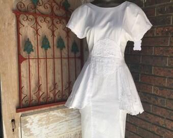 1980s dress white dress cotton dress 80s dress peplum dress wiggle dress size small Vintage dress